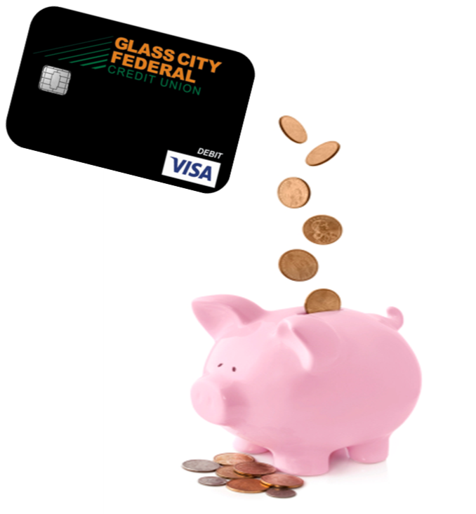 Photo of a piggy bank with a Glass City Visa Debit Card dropping change into it