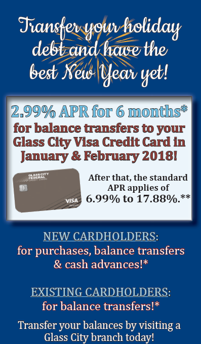 image of January through February 2018 Visa Offer, Transfer your Holiday Debt and have the best New Year yet