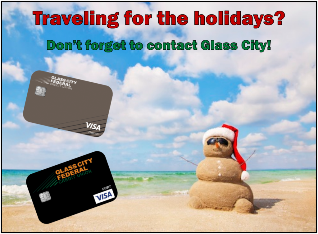 Traveling for the holidays? Don't forget to contact Glass City; image with a snowman made of sand on a beach