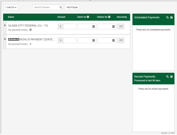 Screenshot of Glass City's Online Bill Pay System showing that payees, current scheduled payments, and payment history are all on one screen
