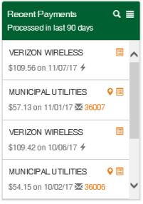 Screenshot of Glass City's Online Bill Pay System showing how to view payment history