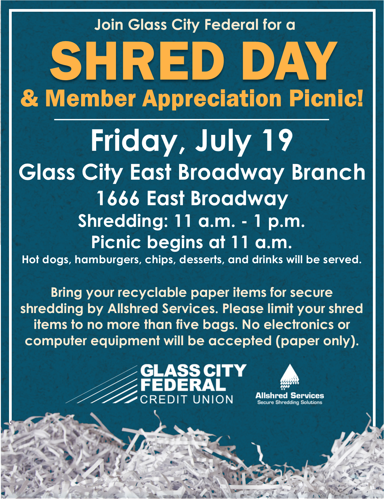 Shred Day at East Broadway Branch on July 19, 2019